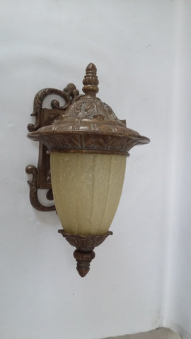 Outdoor Wall Light Antique Brass Finish With Cream Glass 17118-JSH-333