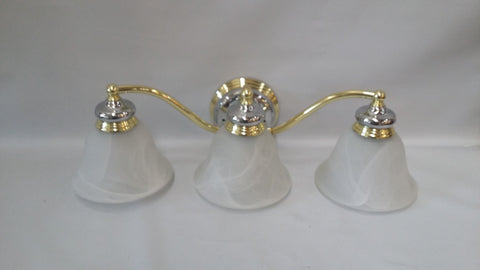 Bathroom Light Chrome And Gold Finish Alabaster Glass Shades 09-118-JSH