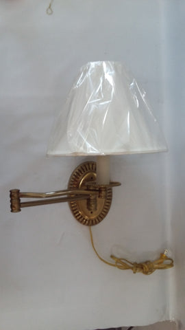 Wall Sconce Swing Arm Antique Brass Silk Shade 10218-6-JSH-DF