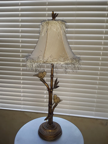 Table Lamp Antique Gold Finish Base With Birds 07-118-JSH-1.5