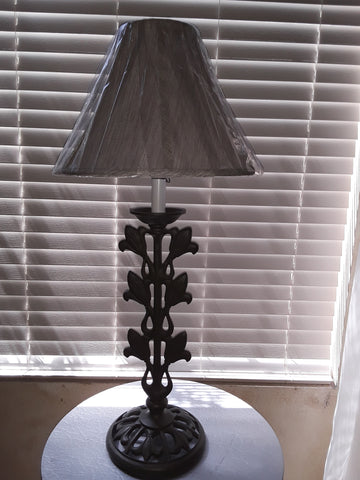 Table Lamp Gray Metal Finish With Gray Silk Shade 07-118-JSH-1.9