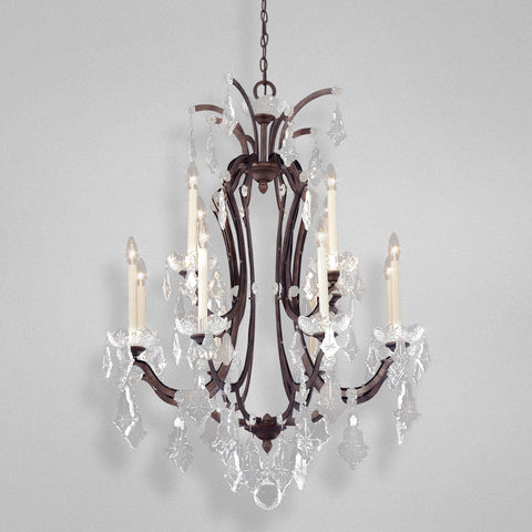 Chandelier Bronze Finish And Crystal Accents #010815-015