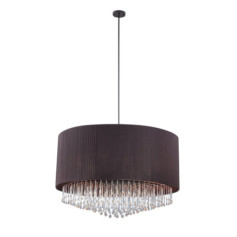 Chandelier Black Pleated Silk Shade With Crystal Drops #010815-014 FP