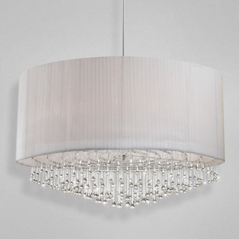 Pendant Chrome Finish And White Material Shade And Crystal Drops #020815-014