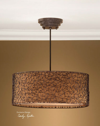 Pendant Rustic Finish Frame With Sil Bronze Shade #020851-59