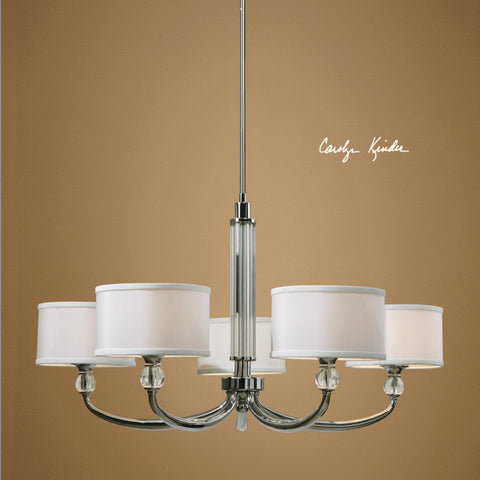 Chandelier  Polished Chrome Finish And Crystal Accents  And White Silk Shades #010851-14