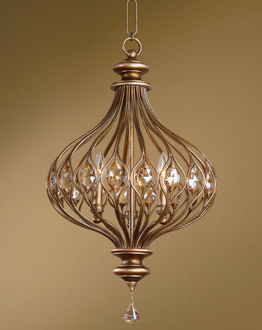 Pendant Burnished Gold Metal With Golden Teak Cut Crystal Accents #020851-65