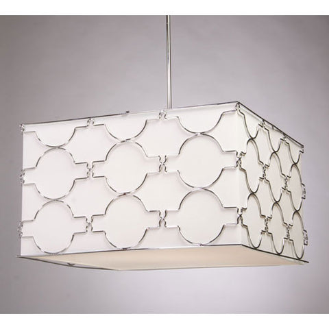 Pendant Chrome Finish With White Linen Shade#020807-32