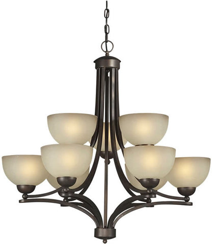Chandelier  Antique Bronze Finish And Umber Glass #010820-164