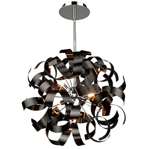 "Chandelier Black Finish with Chrome Interior 24"" Modern Pendant #020807-014 FP"