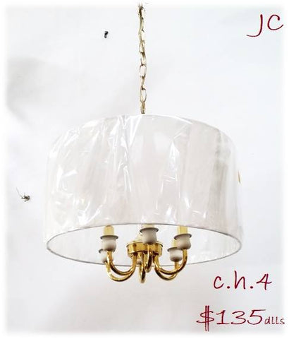 Pendant Polished Brass metal And Silk Shade 2-118-JSH-4