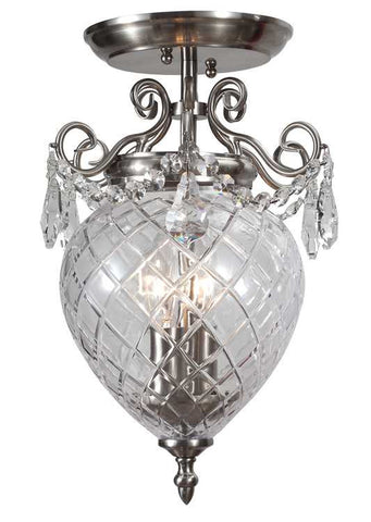 Semi Flush Mount Polished Chrome And Hand Cut Glass #140854-014