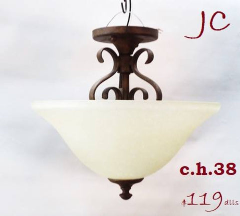 Semi Flush  Light Brown Finish And Cream Glass 15-118-JSH-38