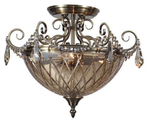 Semi Flush Mount  Antique Brass Finish And Golden Hand Cut Crystal #150853-014