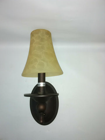 Wall Sconce Bronze Metal Finish And Cream Glass Shade 10218-1-JSH