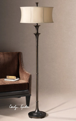 Floor Lamp Bronze Finish And Champagne Silk Shade #060851-14