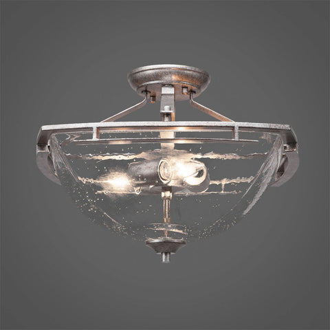 Semi Flush  Aged Silver Finish And Clear Bubble Glass TL321AS464-519