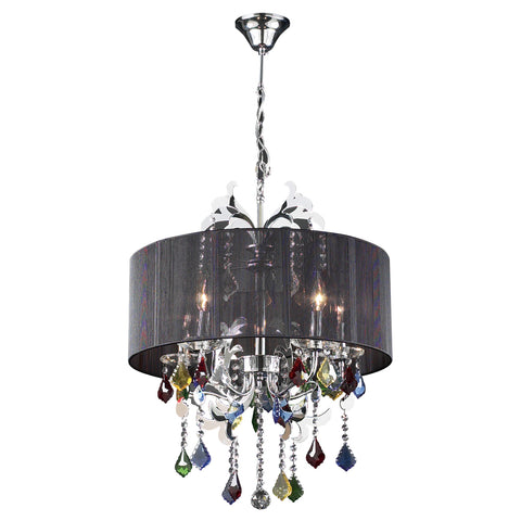 Chandelier Chrome With Black Shade Hand Cut Crystal 1218-25-JSH-67