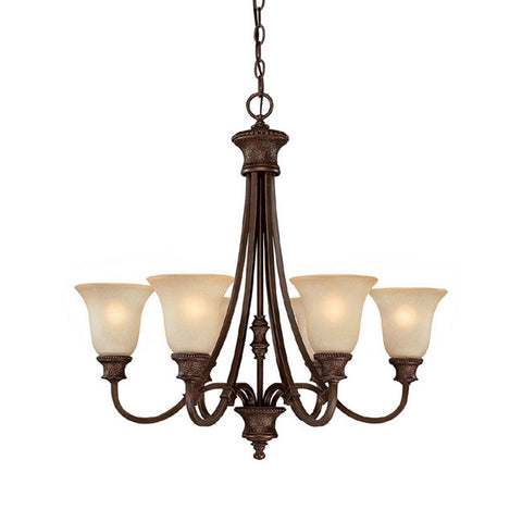 Chandelier Burnished Bronze Finish With Mist Scavo Glass 141-618-CAPL