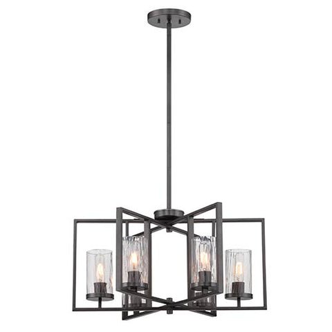 Chandelier Charcoal Finish And Rain Glass 016518-DFL-JSH