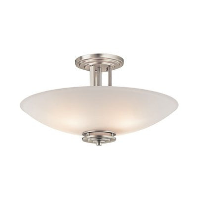 Semi Flush Mount Brushed Nickel Finish And Frosted Glass 150831-14