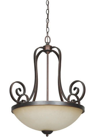 Pendant Dark Bronze Finish and Buttercup Glass #02803-46