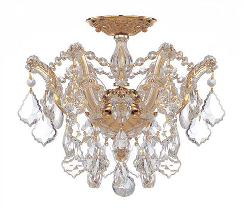 Flush Mount Cast Bronze Gold With Hand Cut Crystal 14518-JSH-CRYT