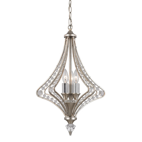 Pendant Satin Silver Finish And Crystal Accents #020817-14
