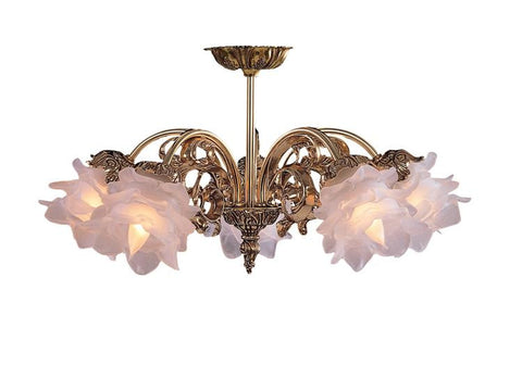 Semi Flush Mount  Bronze Frame And Floral Shade #150854-014