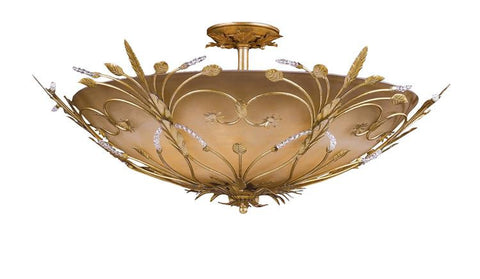 Semi Flush Mount  Gold Leaf Finish With Cream glass And Crystal Beads #140854-14