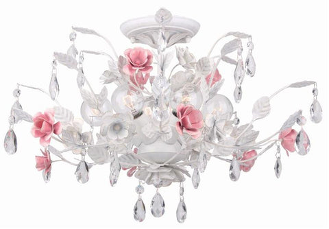 Semi Flush Mount White Finish And Pink Accents  #020811-213
