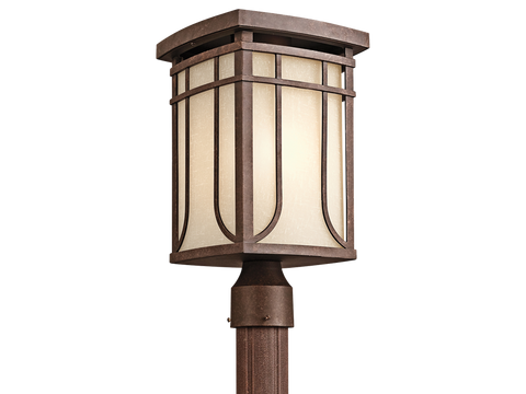 Outdoor Post Lamp Aged Bronze Finish  And White Mist Glass #190931-014