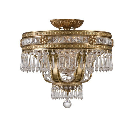 Semi Flush Mount Aged Cast Bronze Finish And Hand Cut Crystal #140854-014