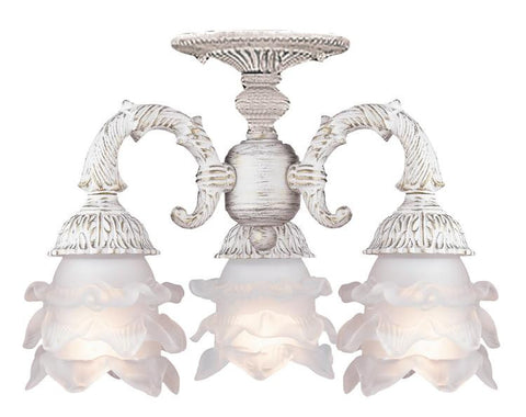Semi Flush Mount Antique White Finish And Frosted Etched Flower Glass #140854-14