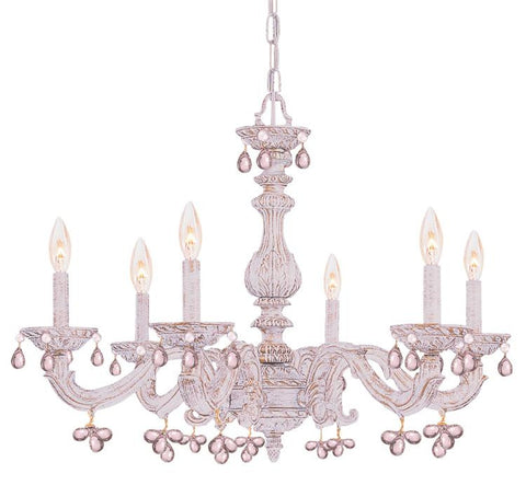 Chandelier Antique White Finish And Rose Crystal Accents #010854-14