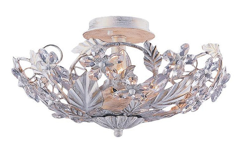 Semi Flush Mount  Antique White Finish And Hand Cut Crystal #150854-014