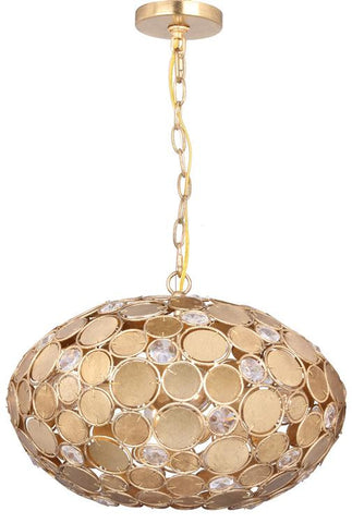 Pendant Antique Gold Finish  With Hand Cut Crystals #020854-014