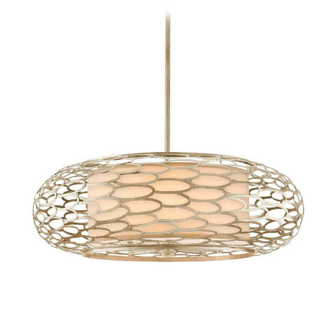 Pendant  Silver Finish And Champagne Linen Shade #020802-191