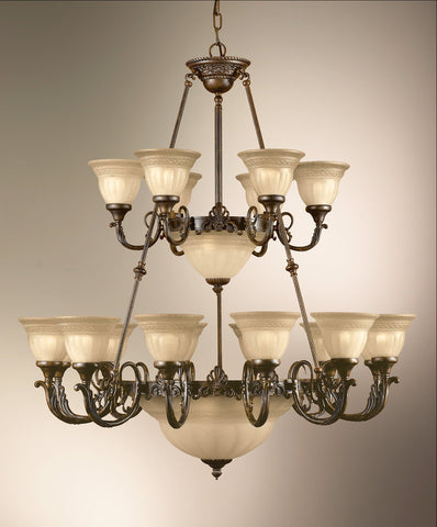 Chandelier English Bronze Finish  And Sandstone Glass #010811-014