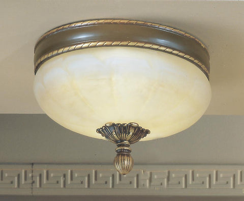 Flush Mount Light Cast Bronze Frame And Cream Alabaster Glass #140811-55