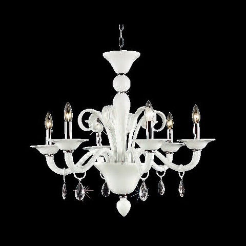 Chandelier White Crystal With Clear Crystal Drops #010835-014