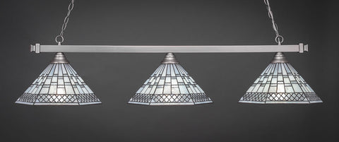 Pool or Island Lamp Brushed Nickel Finish  Pearl and Pewter Tiffany  Shade 803-910-BN