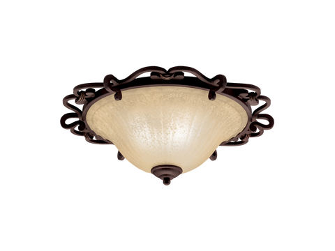 Flush Mount Bronze Finish And Cream Glass #140831+014