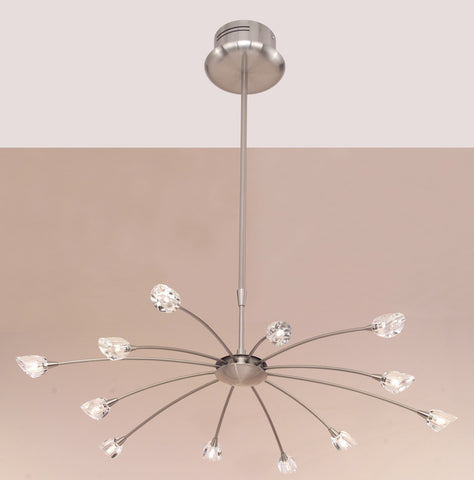 Chandelier Nickel Finish And Clear and Frosted Glass #010843-14