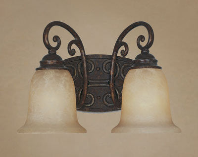 Vanity Light Bronze Finish And Antique Beige Glass