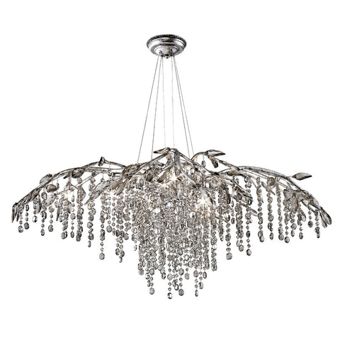 Chandelier Satin Silver Finish And Crystal #010857-015