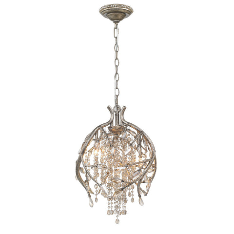 Pendant Satin Silver Finish And Crystal #020857-015