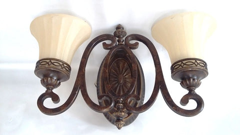Vanity Light Bronze Finish And Cream Glass 09-118-JSH-A10