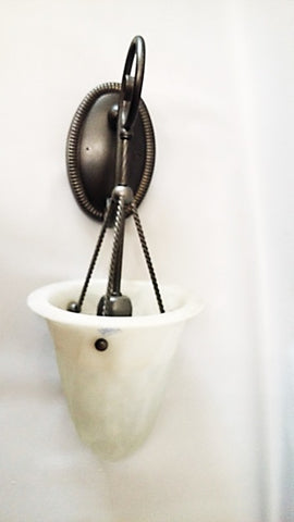 Wall Sconse Antique Pewter With Marble Frosted Glass  10 -118-JSH-A28
