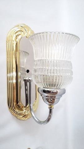Wall Sconse Polished Brass And Chrome Finish Clear Ribbed Glass  10-118-JSH